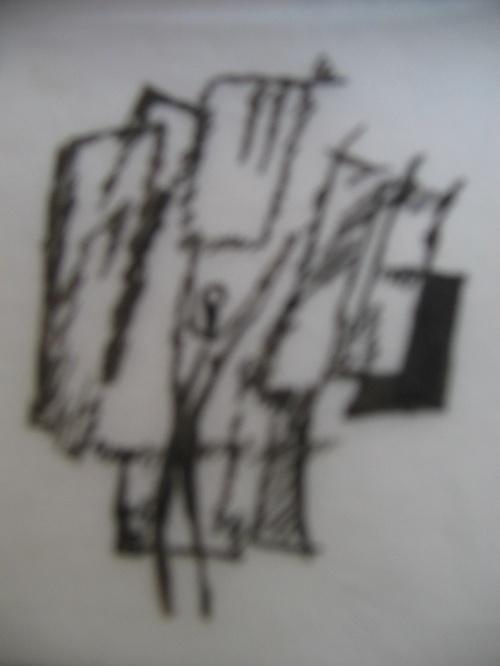 大学里的朦胧诗黑白画 上