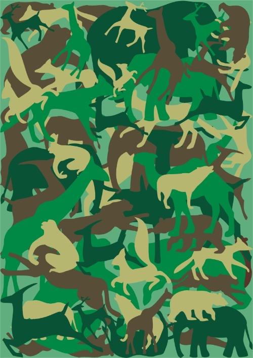 近段作了系列保护动物的海报,运用迷彩来表现动物也需要用迷彩来