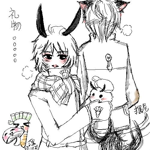 但是真的很久没涂了   小兔子收到了狗狗的雪兔子礼物.