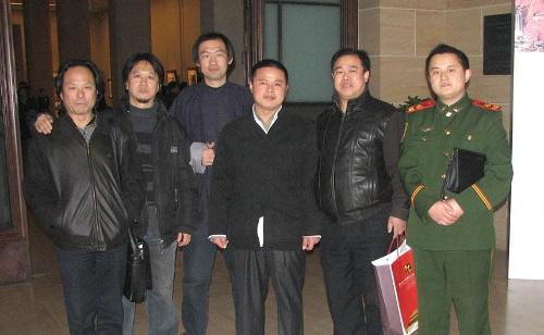 中国书协主席张海,中国书协分党组书记赵长青,副书记陈洪武,中国美术
