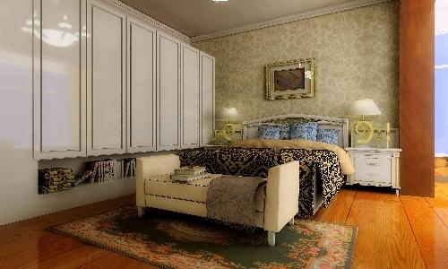 罗马柱造型做成垭口;主卧与阳台之间的推拉门没有绘出来.其他房间