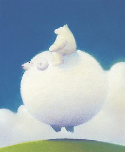 棉花糖般的云朵,可爱的小动物出现在异想的云端