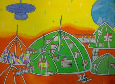 小学生科幻画简单的_绘画分享