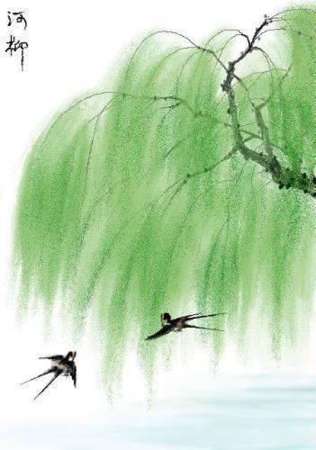 关于春天大自然柳树的画