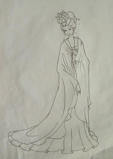 古装仙女裙图片铅笔手绘