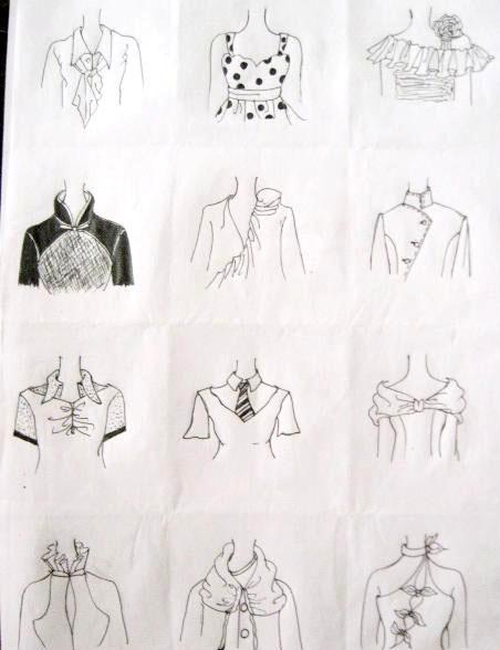 手绘衣领款式图