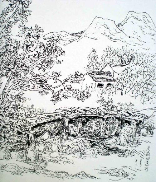 水彩画 <老房子>            山水画