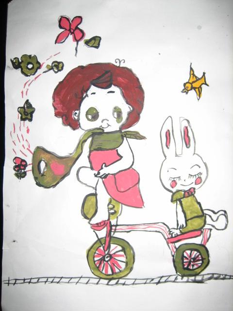 美术课2:小女孩和小兔在钢丝上骑自行车