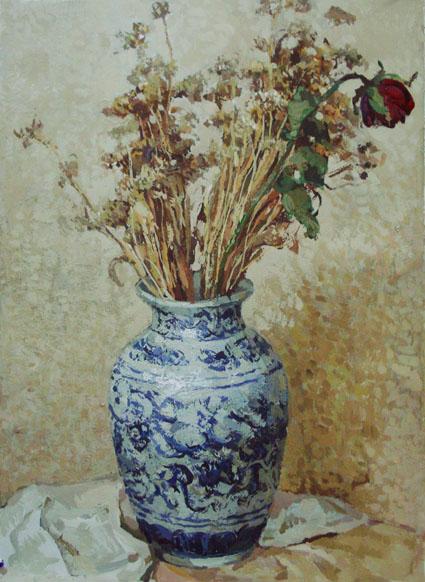 水粉画 玫瑰和干菊