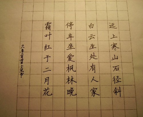 钢笔书法落款-我的第一次硬笔书法作业 希望写得好的老师给些指点图片