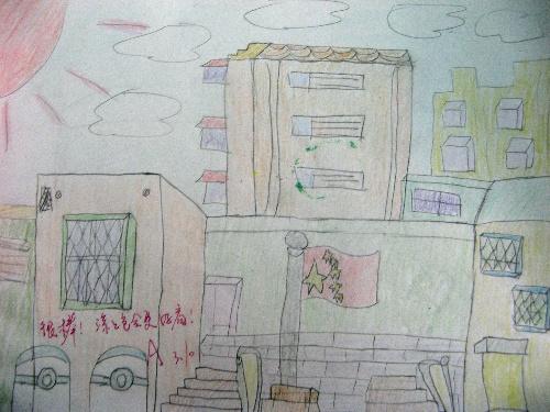校园一角绘画 儿童画四年级展示图片