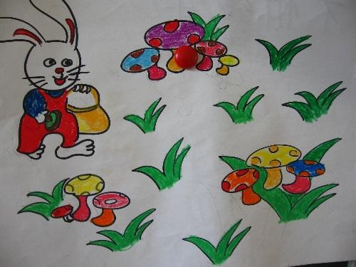 kc 小白兔采蘑菇 简笔画 图片 小白兔采蘑菇