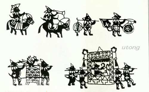 右上图为内蒙古剪纸艺人郑蝴蝶作品