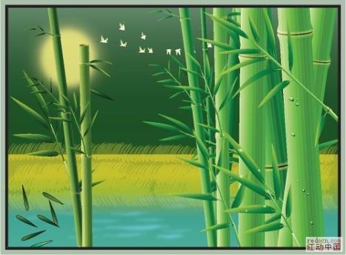 竹子月亮手机壁纸