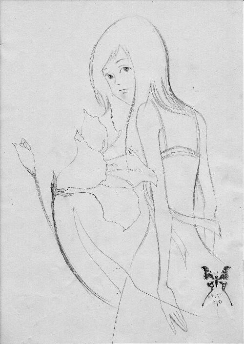 铅笔画可爱动漫人物-开心的小女图片;