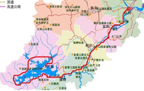 地图示意图左下角那湖区就是千岛湖